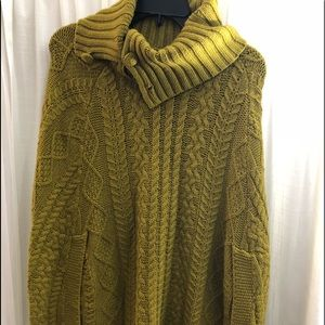 Yellow knitted sweater ponchos - one sizes